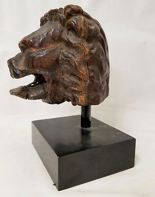 Early 18th or 17th Century Hand Carved Wood Lion Head on Stand with Iron Tongue
