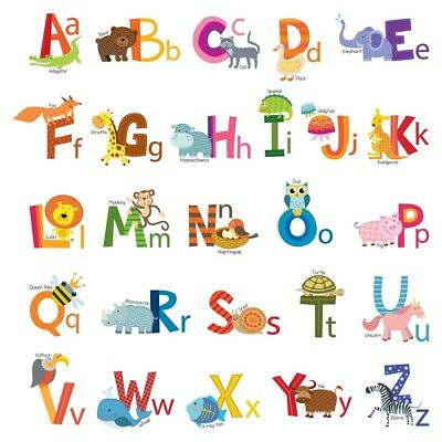 Decowall Animals Alphabet ABC Nursery Kids Removable Wall Stickers Decal DS-8002