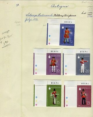 Weeda Antigua 307-311 VF MH 1973 Military Uniforms gutter singles CV $3.30