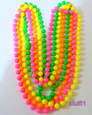 Pack Of 4 Bright Colours Long Rope Plastic Big Beads Necklace Fancy Dress Party