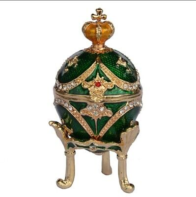 Small Green crown Faberge egg trinket boxes Faberge eggs vintage home decor