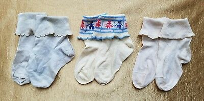 A40 Vintage Baby Socks Stockings Blue Cream Dolls Child Primitive Lot of 3