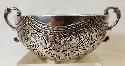 Antique Hallmarked Repousse' Silver Portugal or European Brandy Bowl