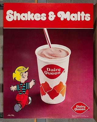 Vintage Dairy Queen Promotional Poster Dennis The Menace Shakes & Malts dq2