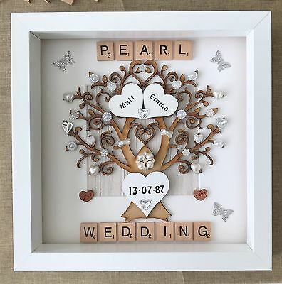 Personalised Handmade Pearl 30th Wedding Anniversary Tree Gift
