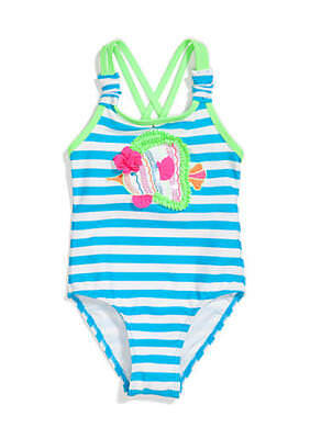 Nwt 'flapdoodles' Toddler Girls Fish & Stripe 1-Pc Swimsuit Size 2T (Msrp 32.00)