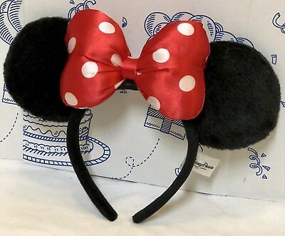 Authentic Disney Parks Minnie Mouse Red Polka Dot Bow Plush Black Headband Hat