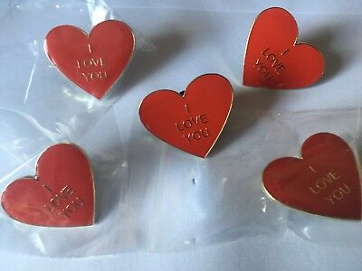 50  red heart enamel pin badges