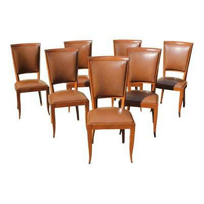 Set of Seven French Art Deco Solid Mahogany Dining Chairs Circa 1940s . AS IS