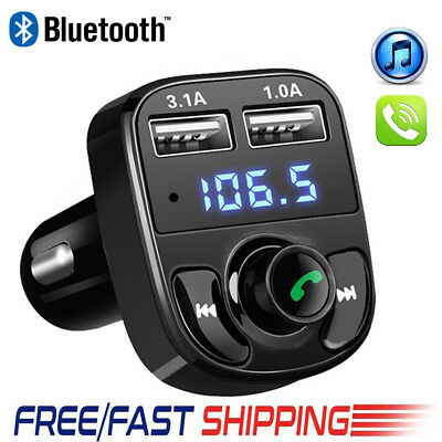 Bluetooth Car Kit MP3 Player FM Transmitter Wireless Dual USB Charger For iPhone