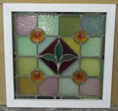 "OLD ENGLISH LEADED STAINED GLASS WINDOW Stellar Victorian Floral 20.25"" x 20"""