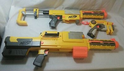Nerf N-Strike Gun Lot Recon Deploy CS 6 & Pistol w Tactical Laser Light & Extras