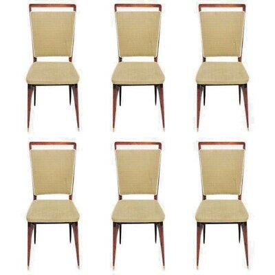 Beautiful Set of Six French Art Deco Rosewood Dining Chairs Circa 1940s AS IS