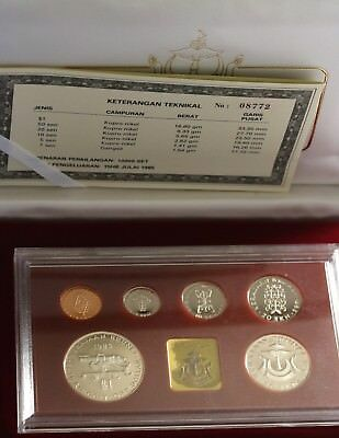 Brunei 1985 Proof Coin Set GEM FDC Coins - Numbered Case /Matching COA RARE