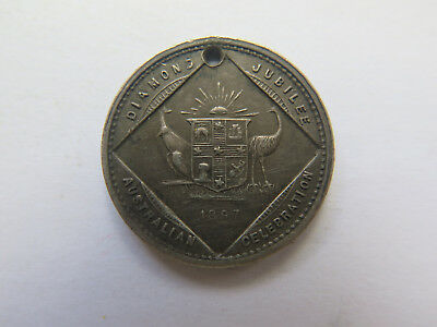 1897 AUSTRALIAN SILVER MEDALET ISSUED for QUEEN VICTORIA'S 60th DIAMOND JUBILEE
