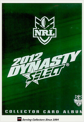 Select 2012 NRL DYNASTY TRADING CARD OFFICIAL CARD ALBUM (NO PAGES)