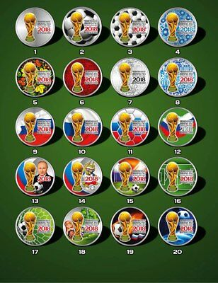 Russia coins World Cup 2017,25 rubles cup, a set of 20 colored coins.