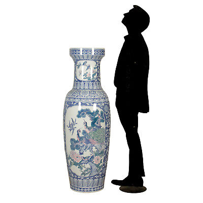 Grande Vaso Cinese Porcellana decori a rilievo vegetali Cina XX Secolo
