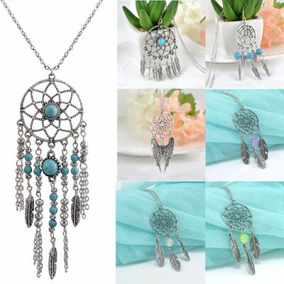Retro Boho Dream Catcher Turquoise Feather Pendant Long Chain Necklace Jewellery
