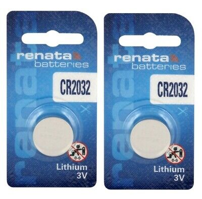 2 x Renata CR2032 DL2032 3V Lithium Coin Cell Battery Long Lasting 2032