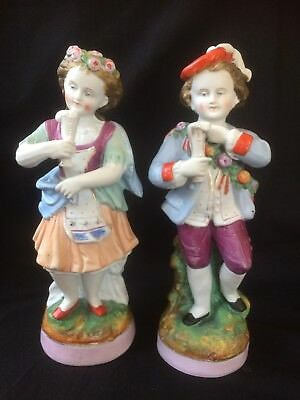 antique 1800's french porcelain matching pair boy and girl