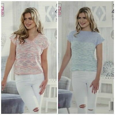 KNITTING PATTERN Ladies Easy Lace Pattern Tops Giza Cotton 4ply King Cole 5143