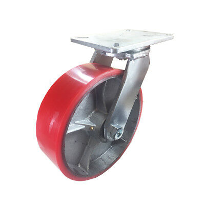 "10"" x 3"" Polyurethane on Cast Iron Caster (Red) - Swivel"