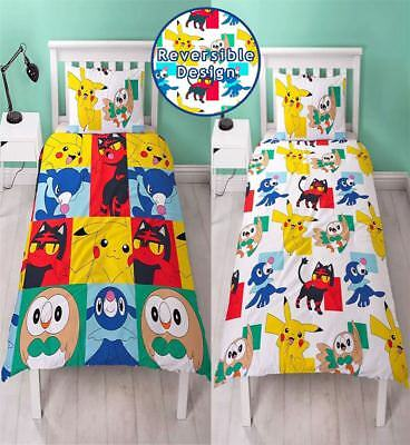 Childrens Pokemon Newbies Duvet Quilt Cover Kids Reversible Single Pillow Case