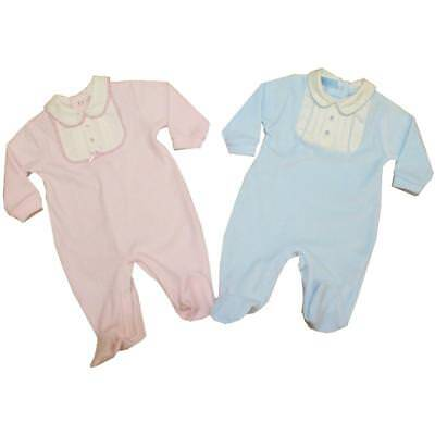 Baby Boy Girl  Spanish Romany Style  Sleepsuit pink blue velour 0-3 - 6-9 month