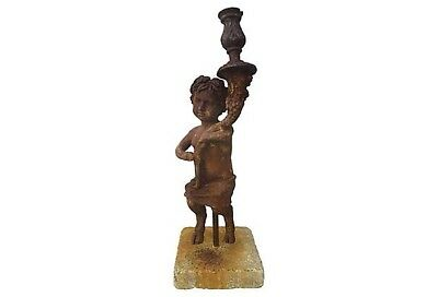 19th-Century Italian Iron Satyr Figurine Cornucopia Candlestick on Concrete Base