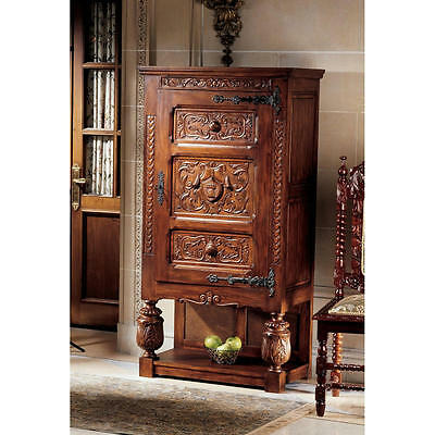 Solid Distressed Mahogany French Revival Gothic Antique Replica Locking Armoire