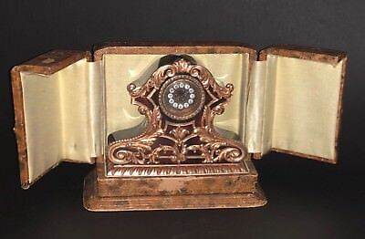 Superb Rare Antique French Gold Gilt Solid Silver Miniature Table Travel Clock