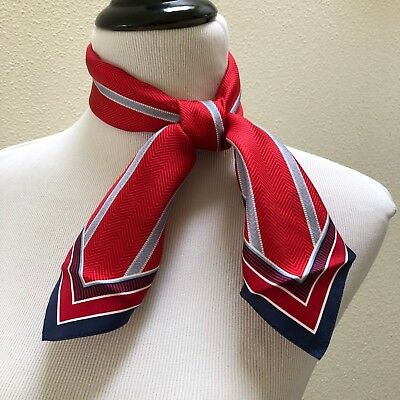 Audrey Talbott 100% Silk Scarf for AMR American Airlines Red Chevron 24x24 NEW