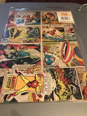 Marvel Comic 2 Sheets Gift Wrap & 2  Iron Man Tags - Marvel Wrapping Paper& Tags