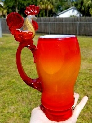 Gorgeous Art Glass Figural Rooster Handle Amberina Opalescent Tankard Mug Rare