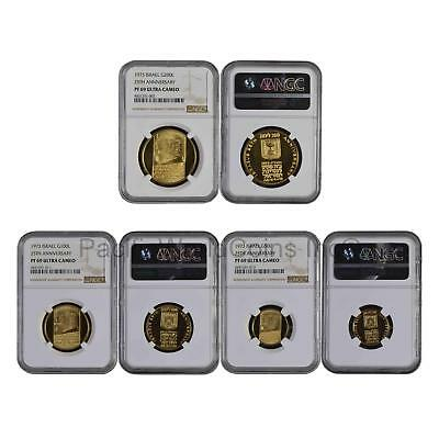 Israel 1973 25th Anniversary 3pc Gold NGC PF69 Ultra Cameo Set SKU#6074