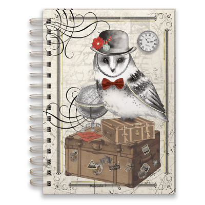 """Punch Studio E8 Stationery 6x8.5"""" Spiral Bound Lined Journal Traveling Owl 45971"""