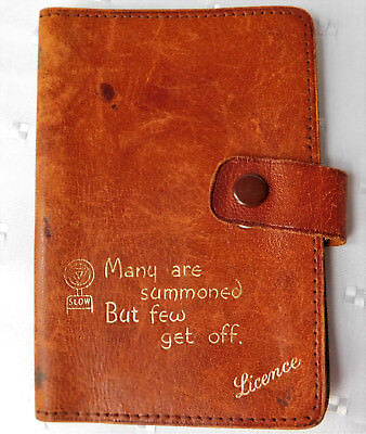 Vintage real leather driving licence holder motorists wallet Avoncliff c 1930s