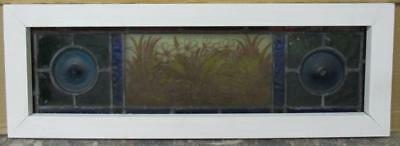 """MID SIZED OLD ENGLISH LEADED STAINED GLASS WINDOW Handpainted Flowers 25.25 x 9"""""""