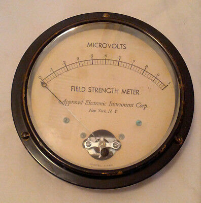 """Vintage Field Strength Meter Ham - 0-1 Microvolts Large 5.5"""" Face"""