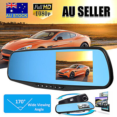 Car Rear View Kit  LCD Mirror Monitor + 170° Angle Reverse Back Park Camera AU
