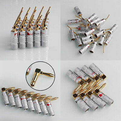 8PCS Nakamichi Angle/2mm Pin Speaker Banana Plug Adapter Wire Connector Gold Pro