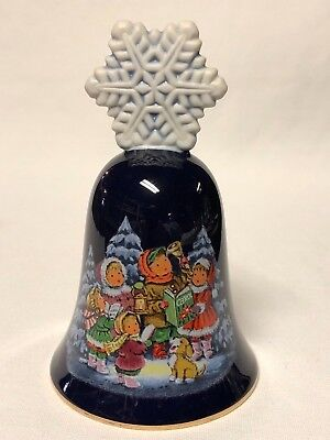 "Vintage Avon 1987 Christmas Bell Cobalt Blue Porcelain ""Carolers"" Star Handle"