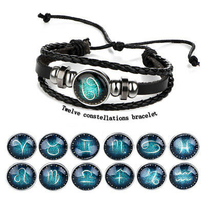 12 Constellation Bracelets Men Leather Bracelet Women Girls Horoscope Jewelry
