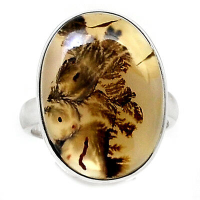 Scenic Dendritic Agate 925 Sterling Silver Ring Jewelry s.7 SDAR774
