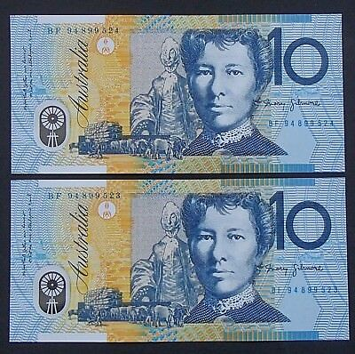 1994 Ten $10 Dollar Note Blue Dobell Uncirculated Consecutive Pair Fraser/Evans