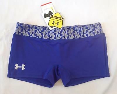 Girls Under Armour fitted bootie dance cheer athletic shorts purple silver YXL