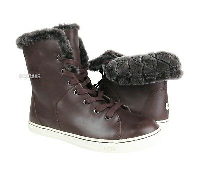 a7f25436f15 UGG CROFT LUXE Quilt Chocolate Leather Fur High Top Sneakers Womens Size  9.5 NEW
