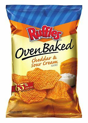 Baked Ruffles Oven Baked Potato Crisps, Cheddar and Sour Cream 6.25 Oz (8 Bags)