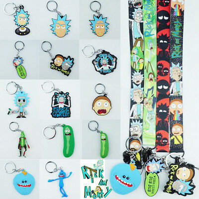 Rick and Morty Series Pendant Keychain Neck Strap Lanyard Cosplay Cartoon Gift